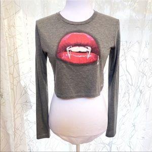 Vans vampire fang lips long sleeve crop top